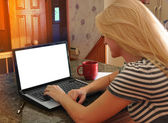 Woman on Internet Laptop with Blacnk Screen — Stock Photo