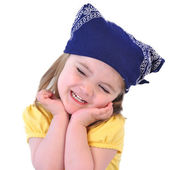 Little Girl with Bandana Hat on White — Stock Photo