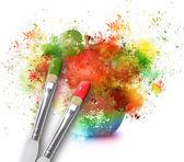 Paint Splatters on Rainbow Apple — Stock Photo