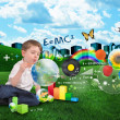 Stock Photo: Science, Math, Art and Music Bubble Boy