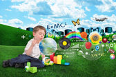 Science, Math, Art and Music Bubble Boy — Stock Photo