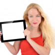 Happy Technology Woman Holding Tablet on White — ストック写真