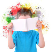 Little Boy Reading Art Book with Paint on White — Stock Photo