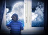 Boy Looking at Night Moon and Stars — Stock Photo