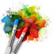 Stock Photo: Paintbrushes with Paint Splatters on White