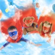 Stock Photo: Little Superhero Kids Flying in Sky