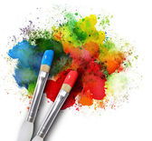 Paintbrushes with Paint Splatters on White — Stock Photo