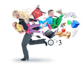 Stress Mother Running Late with Kids — Stock Photo