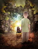 Lost Boy in Dream Woods with Bear Animal — Stock Photo
