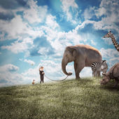 Girl Walking Elephant and Animals in Nature — Stock Photo