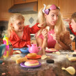 Junk Food Mother Acting Like Children — Stok fotoğraf
