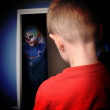 Scary Monster Clown in Boys Closet — Stockfoto