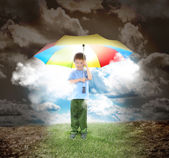 Umbrella Boy with Rays of Sunshine and Hope — Stock Photo