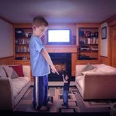 Disputa familiar televisión — Foto de Stock