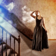 Woman Looking Up at Bright Light of Hope — Stock Photo