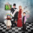 Magician Family with Tricks and Games — Stockfoto