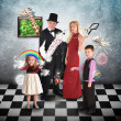 Magician Family with Tricks and Games — Stok fotoğraf