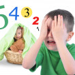 Hide and Go Seek Numbers Game on White — Stock Photo