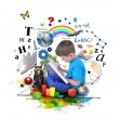 Stock Photo: Boy Reading Education Book on White