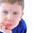 Sad Young Boy Upset on White Background — Foto Stock