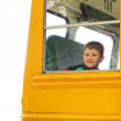 Boy Rising School Bus on White Background — Stock Photo