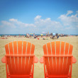 Two Orange Beach Chairs in Sand — Stock Photo