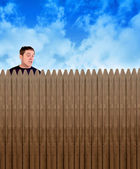 Nosey Neighbor Man Looking Over Fence — Stock Photo