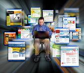 Business man Surfing Internet Web Sites — Stock Photo