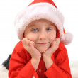 Little Boy Wearing Christmas Santa Hat  — Stock Photo