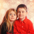 Christmas Holiday Children with Lights — Stock Photo