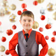 Happy Christmas Boy with Ornament Background — Lizenzfreies Foto