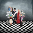 Stock Photo: MagiciFamily with Tricks and Games