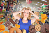 Diet Woman at Grocery Store with Junk Food — Stock Photo