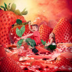 Children Riding Strawberry Fruit Landscape — Stock Photo