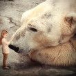 Lonely Polar Bear with Little Child Friend — Stock Photo #45919947