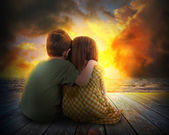 Two Children Watching Summer Sunset — Stock Photo