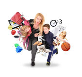 Stress Mother Running Late with Kids on White — Stock Photo