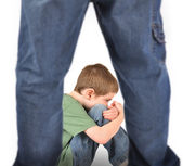 Scared Boy Afraid of Bully on White — Stock Photo