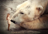 Lonely Polar Bear with Little Child Friend — Stock Photo