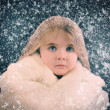 Little Child Outside with Winter Falling Snow — Stock Photo