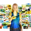 Media Images Girl with Remote Control — Stock Photo