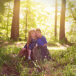 Children in Green Sunny Nature Woods — Stock Photo