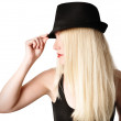 Pretty Girl with Fashion Hat and Hair on White — Stock Photo