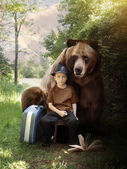 Imagination Boy and Brown Bear on Nature Trail — Stock Photo