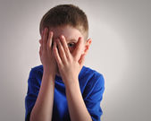 Scared Little Child Covering Eyes — Stock Photo