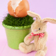 Easter eggs and bunny - Stock Photo