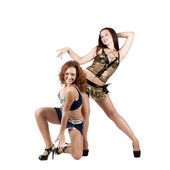 Two beautiful naughty go-go dancers — Stock Photo