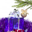 Multi colored boxes with christmas gifts - Stock Photo