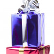 Colored boxes with christmas gifts - Stock Photo