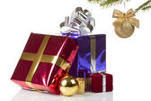 Colored boxes with christmas gifts — Stock Photo